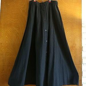 Size Large Long Black Button Down Cotton Skirt